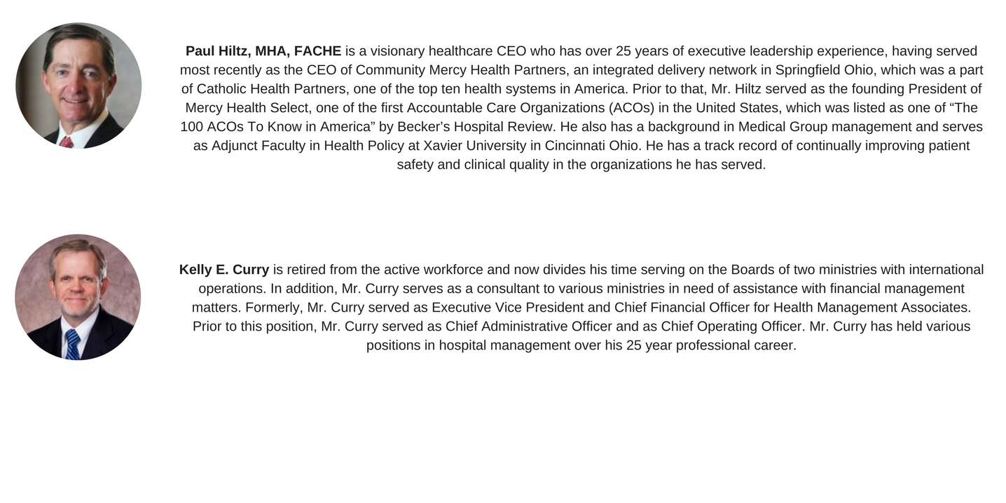 Paul Hiltz is a visionary healthcare CEO who has over 25 years of executive leadership experience, having served most recently as the CEO of Community Mercy Health Partners, an integrated delivery network in Sp (1).png